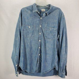 J. Crew Authentic Workwear Blue Chambray Shirt Large Button Up